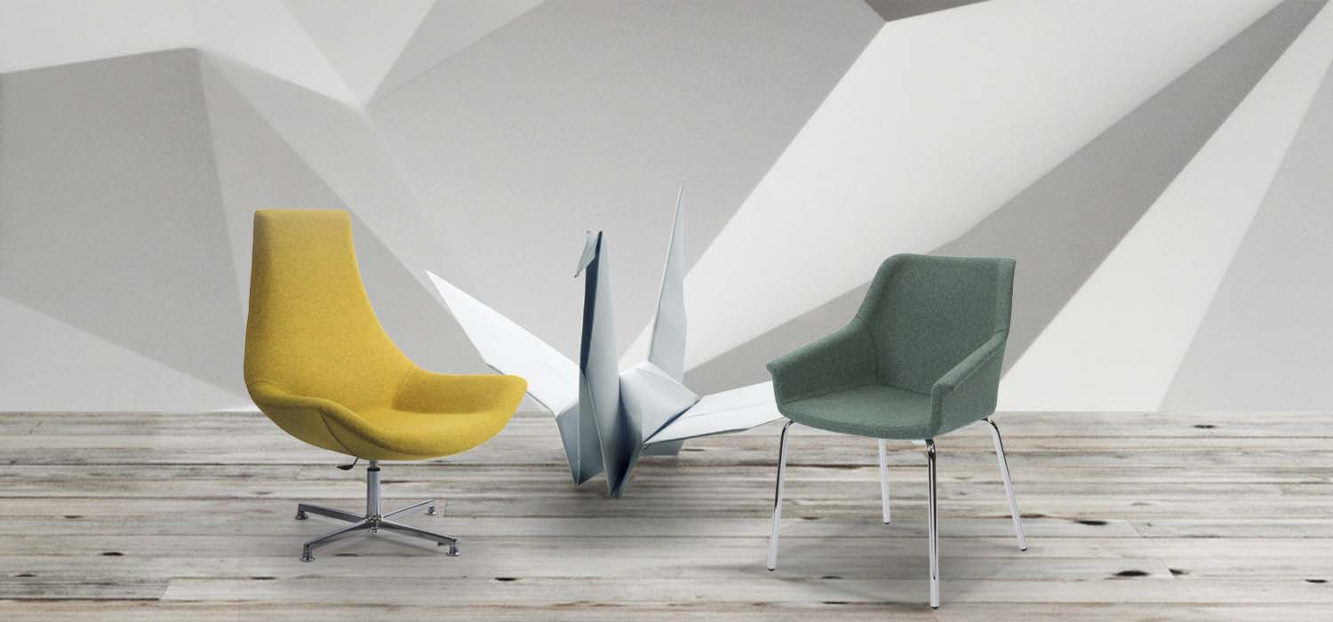 Yellow and grey indoor furniture inspired by the art of origami