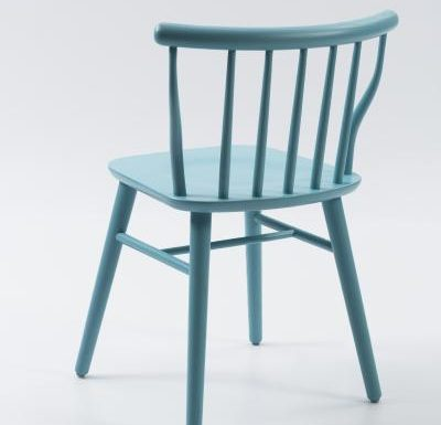 beech leg frame back chair blue rear view