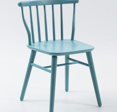 beech leg frame back chair blue front view