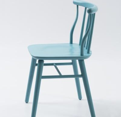 beech leg frame back chair blue side view