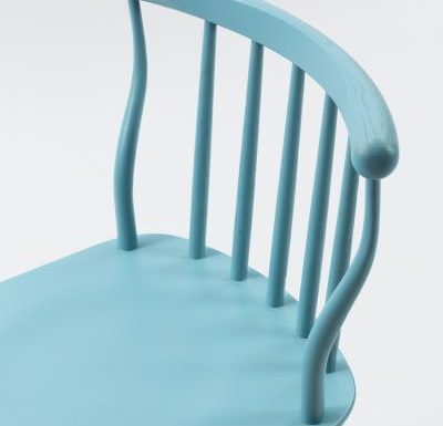 beech leg frame back chair blue close up
