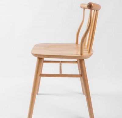 beech leg frame back chair natural side view