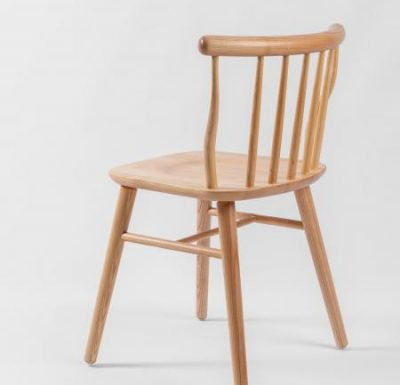 beech leg frame back chair natural rear view