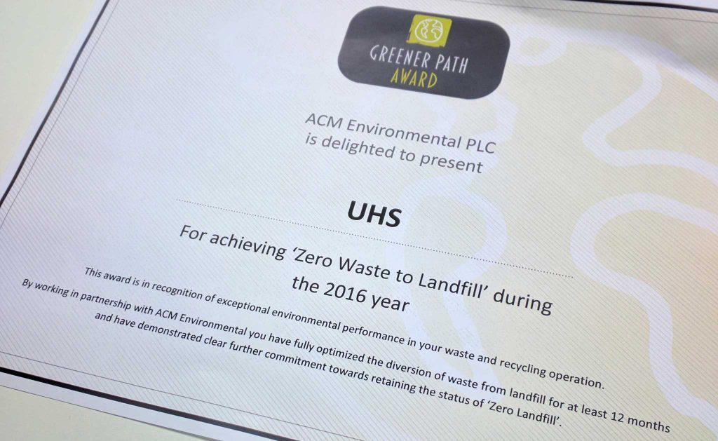 UHS Group 'zero waste to landfill' sustainability certificate