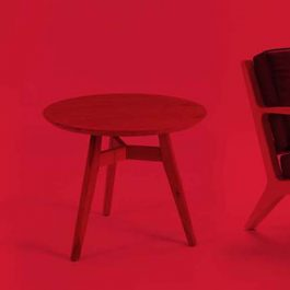 red room with modernist furniture