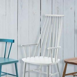 Blue, white and wood spindle back chairs