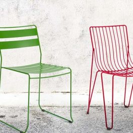 blue, green and red metal wire frame outdoor furniture