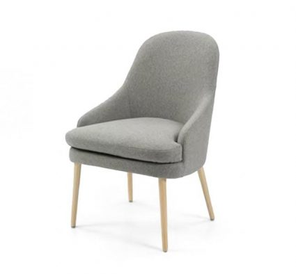 upholstered lounge or club chair with a curved back design