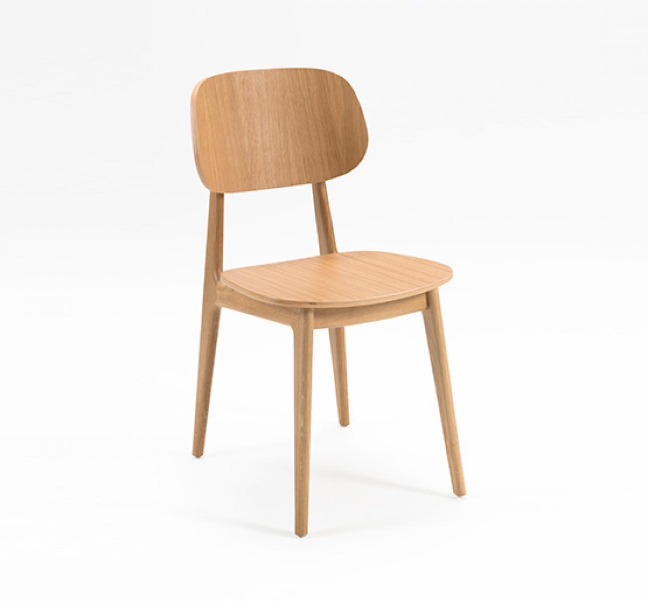 Oak veneer classic side chair