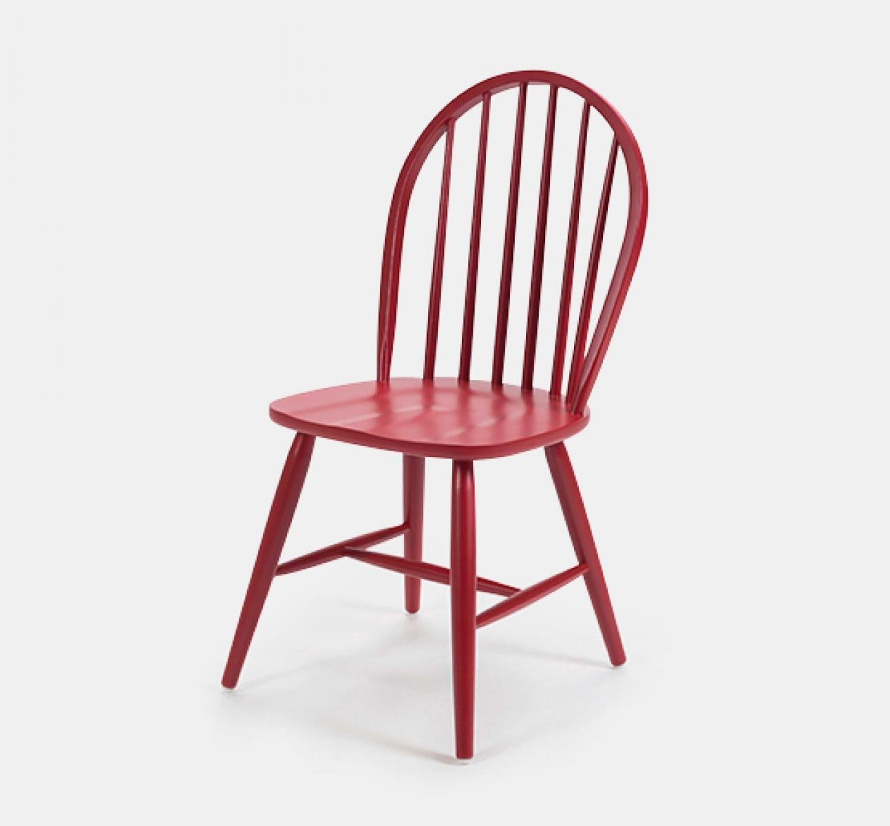Spindle curved back wooden chair traditional style