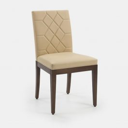 Upholstered sidechair with wooden legs