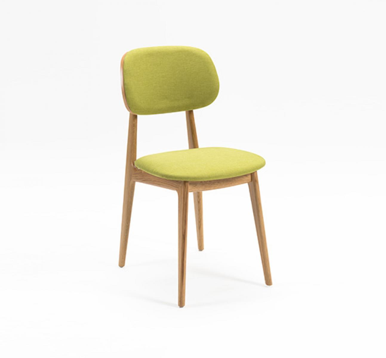 Wooden dining chair with green upholstery