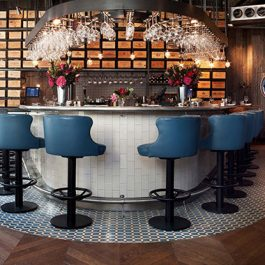 bar with blue barstools