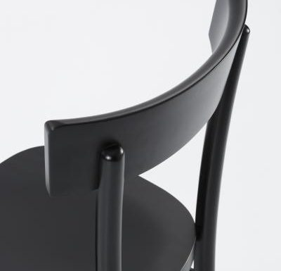 Dark stained solid beech side chair close up back