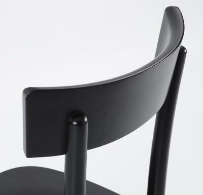 Dark stained solid beech side chair black close up