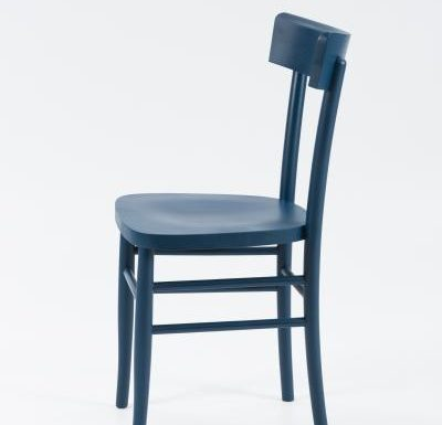 Dark stained solid beech side chair blue side view