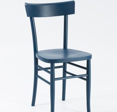 Dark stained solid beech side chair blue front view