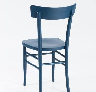 Dark stained solid beech side chair blue rear view