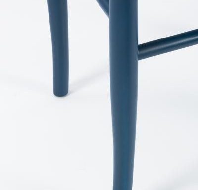 Dark stained solid beech side chair blue close up legs