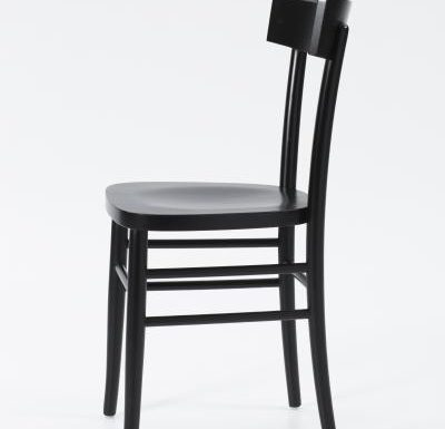 Dark stained solid beech side chair side profile