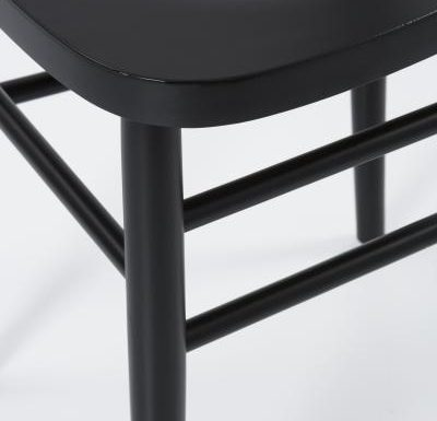 Dark stained solid beech side chair close up
