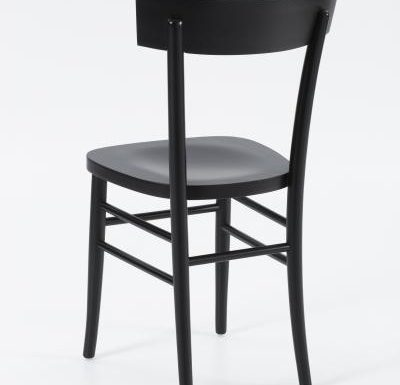Dark stained solid beech side chair rear view