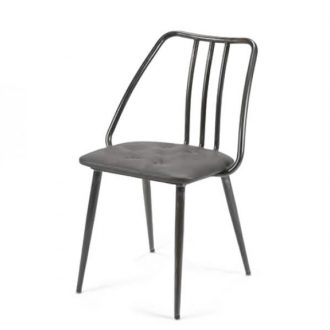 Industrial side chair with upholstered seat pad