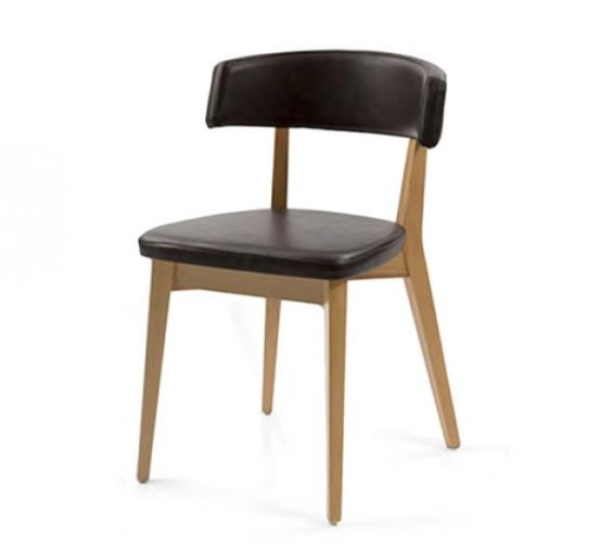 Curved back chair with upholstered seat and back