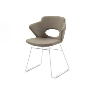 Contemporary upholstered armchair with Oak legs