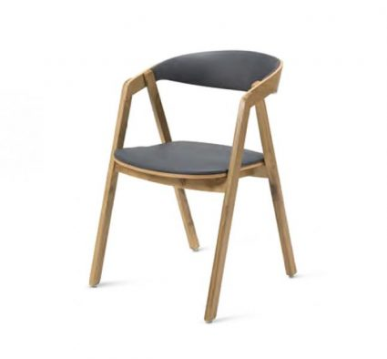 Oak frame chair with a curved back upholstered seat and back pad