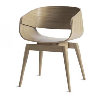 feature chair with a plywood shell and hardwood frame