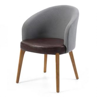 tub chair with wooden legs and upholstery