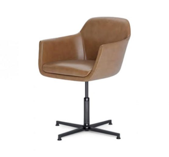metal leg bar stool with leather upholstery
