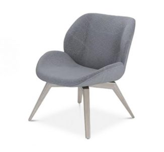 side chair with wooden legs and grey upholstery