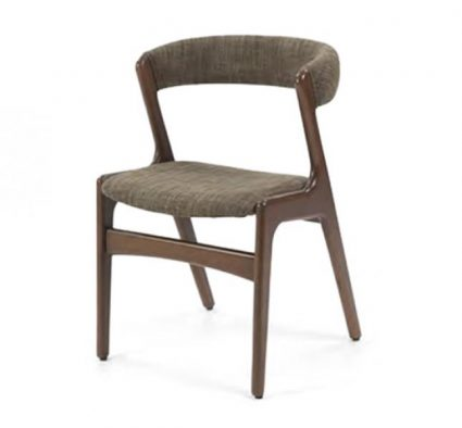 Wooden side chair with grey upholstery