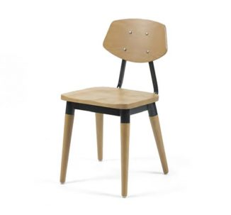 Side chair with steel frame and yellow wooden seat