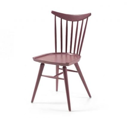 Beech leg frame side chair red