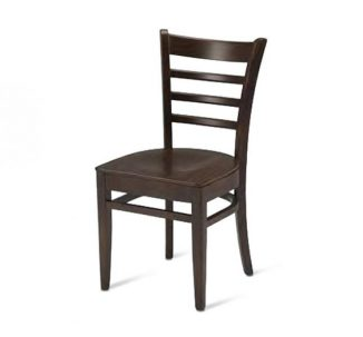 Beech side chair with upholstered seat pad - brown front view