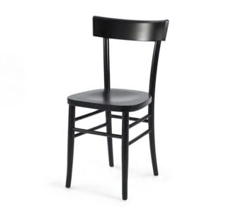 Dark stained solid beech side chair
