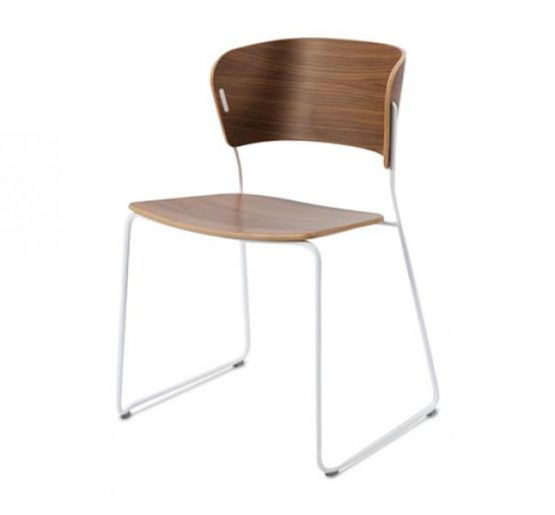 A classy sled base chair with bent ply formed shell back and seat