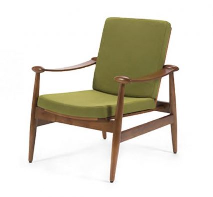 Beech hardwood retro side chair with green upholstery