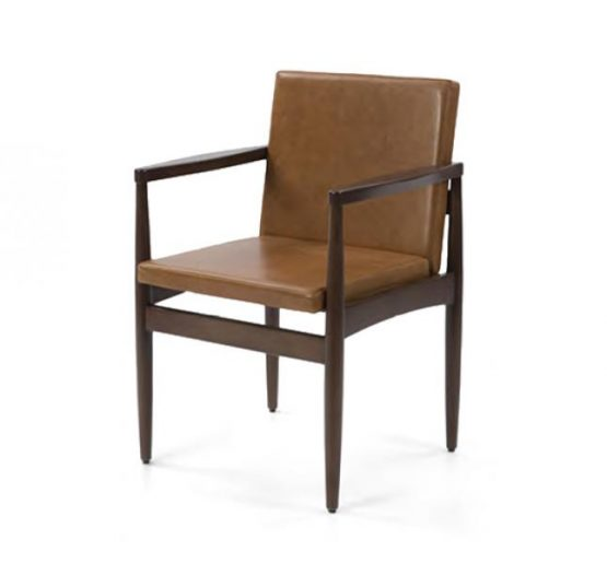 mid century design upholstered armchair with a wooden frame