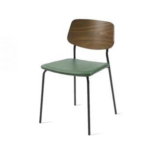 Chaise contemporaine en métal avec assise et dossier rembourrés