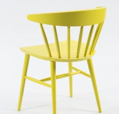 Beech leg frame side chair yellow