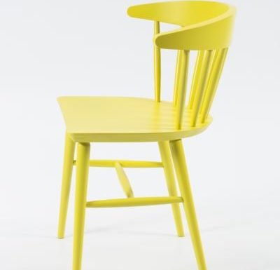 Beech leg frame side chair yellow side view
