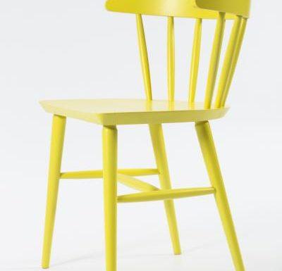 Beech leg frame side chair yellow side view close