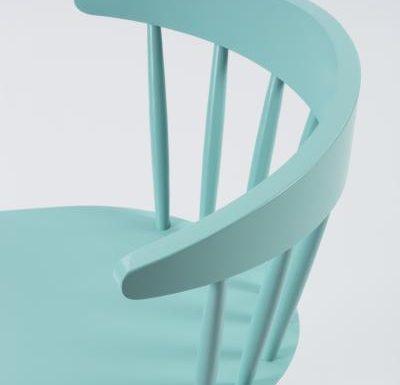 Beech leg frame side chair blue close up