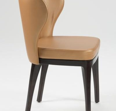 Fine dining chair upholstered seat and back brown side