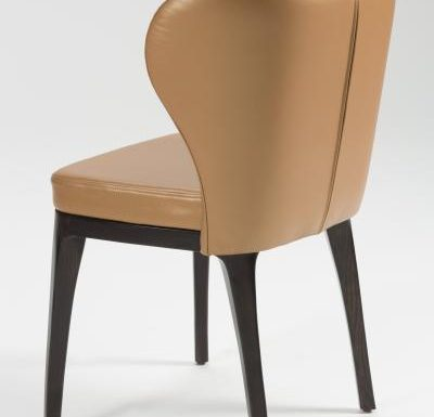 Fine dining chair upholstered seat and back brown rear view