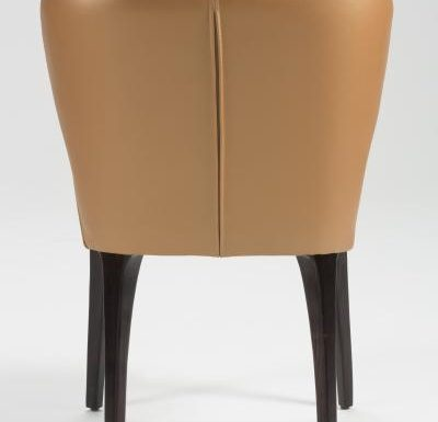 Fine dining chair upholstered seat and back brown side view